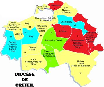 Carte du diocèse de Créteil